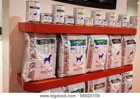 Pet Food On Display At The International Dogs Exhibition Of Milan, Italy