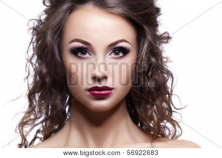 Beautiful Woman Professional Make Up On White