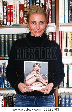 HUNTINGTON, NY - JAN 13: Cameron Diaz signs 'The Body Book: The Law of Hunger, the Science of Strength and Other Ways to Love Your Amazing Body' at The Book Revue on January 13, 2014 in Huntington, NY.