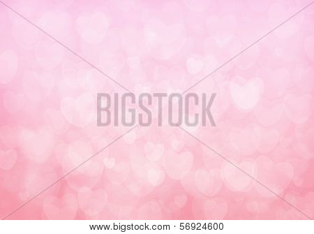Valentine's day pink hearts bokeh background