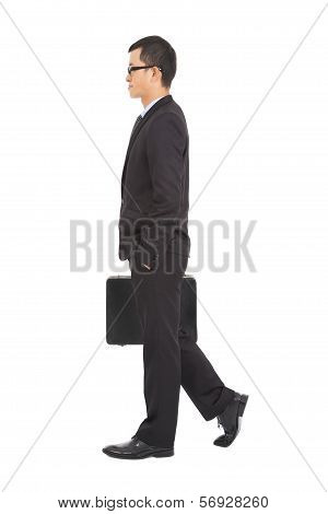 Going Business Man Holding Brief Case