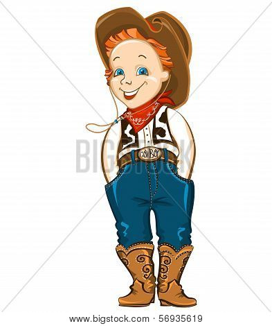Young Cowboy Isolated On White.