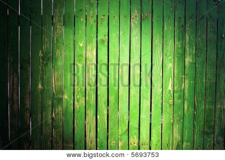 Grungy Green Picket Fence
