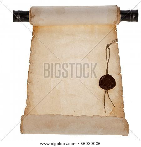 scroll old paper with a wax seal surface close up isolated on a white background