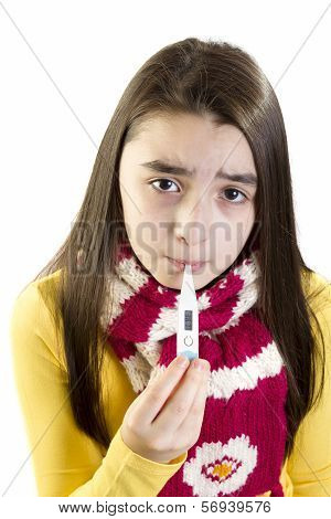 ill girl child worried with thermometer