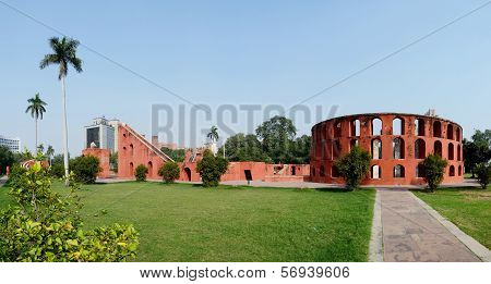Jantar Mantar Panorama In Old Delhi,india.it's Famous Medieval Observatory,unesco Heritage Site