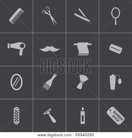 Vector black hair and  icons set