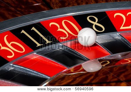 Classic Casino Roulette Wheel With Red Sector Thirty 30