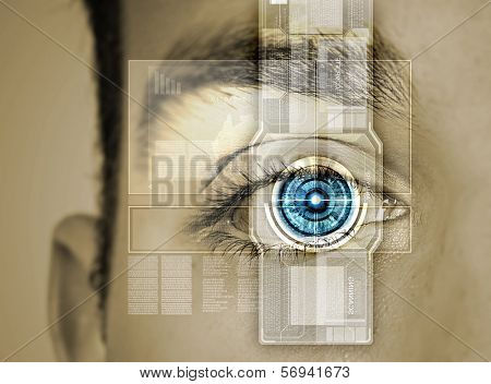 Close up of male eye scanned for recognition
