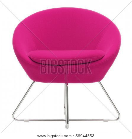 isolated pink armchair