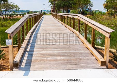 Wooden Beach Walkway Bridge