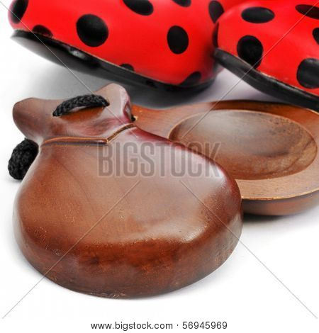 castanets and typical dot-patterned red flamenco shoes of Spain