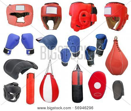 boxing gloves, punching bags and helmets isolated under the white background
