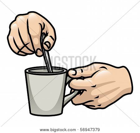Hands Stirring Drink