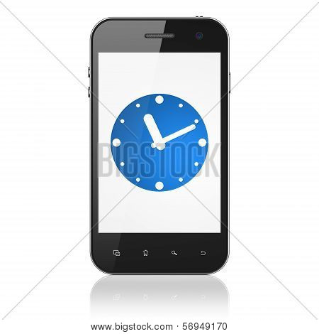 Timeline concept: Clock on smartphone