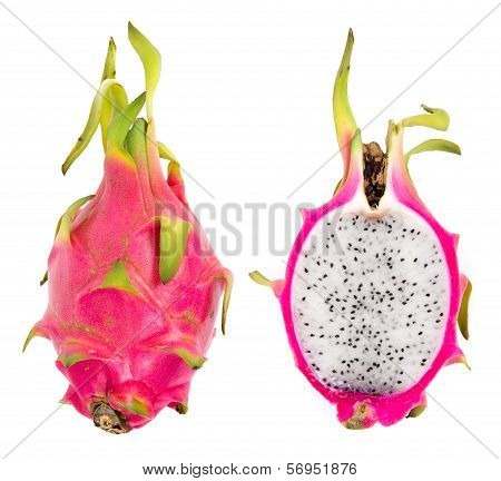 whole and half dragon fruit