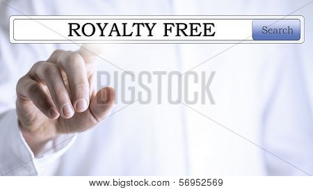 Finger On 'royalty Free' Written In The Search Bar