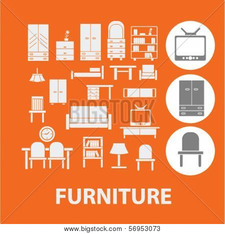 furniture icons, signs set, vector