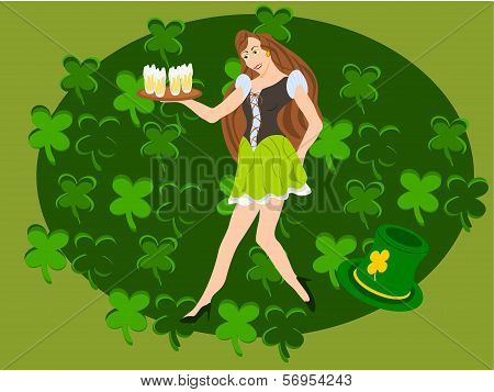 irish barmaid clover background