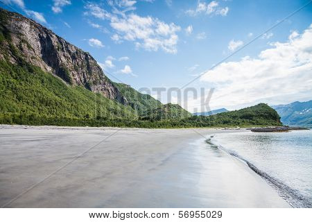 Empty Beach During Lowtide In Northern Norway