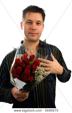Young Man In Love Is Giving Red Roses