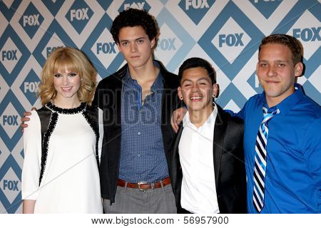 LOS ANGELES - JAN 13:  Claudia Lee, Connor Buckley, Kevin Hernandez, Tyler Foden at the FOX TCA Winter 2014 Party at Langham Huntington Hotel on January 13, 2014 in Pasadena, CA