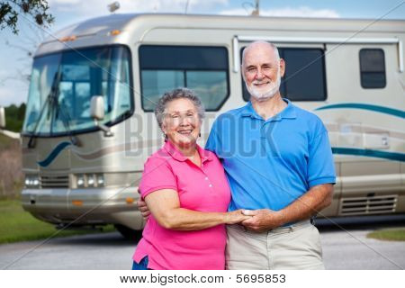 Seniors And Luxury Motor Home