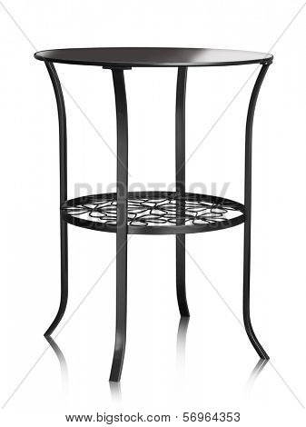 Coffee table made of metal and glass isolated on white