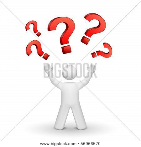 3D Person Looking Up At Question Mark