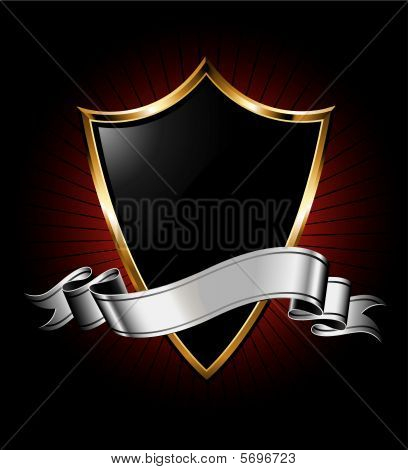 Black Shield and Silver Ribbon