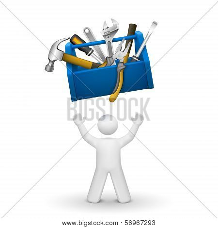 3D Person Looking Up At A Toolbox With Tools