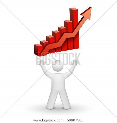 3D Person Looking Up At A Bar Chart Graph