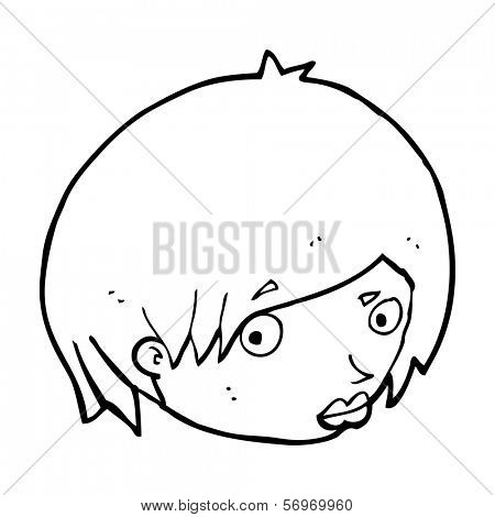 cartoon female face with raised eyebrow