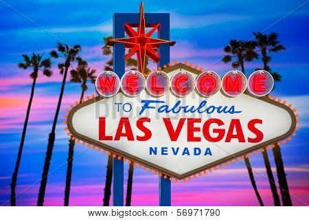 Welcome to Fabulous Las Vegas sign sunset with palm trees Nevada photo mount  [ photo-illustration]