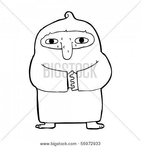 cartoon monk in robe