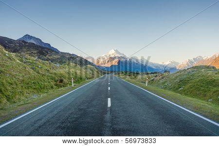 Stretches Road To Mountain