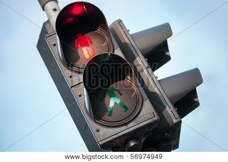 Red Stop Signal Of Urban Street Pedestrian Traffic Light