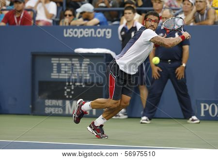 Professional tennis player Janko Tipsarevic during fourth round match at US Open 2013