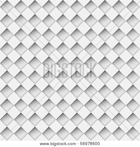 Seamless white notched diamond shapes vector pattern.