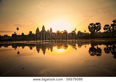 Famous Angkor Wat temple complex in sunrice, near Siem Reap, Cambodia.Panoramic view.