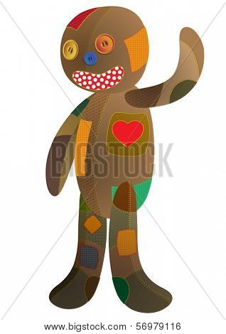 Rag doll patched. Vector illustration.