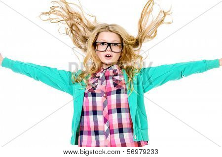 Emotional ten years girl in big glasses. Education. Isolated over white.