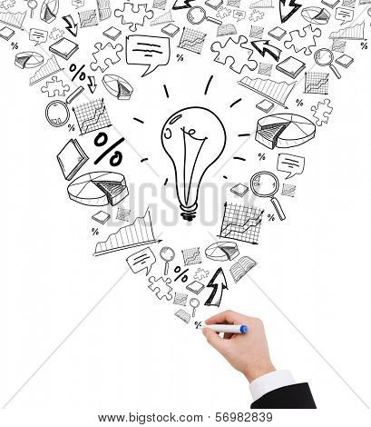 business, education and energy concept - close up of businessman hand drawing stack of symbols