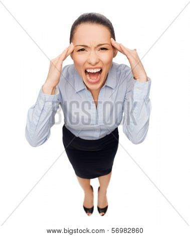 business and emotion concept - frightened businesswoman screaming