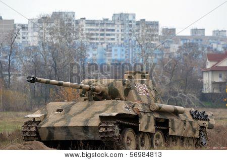 Kiev, Ukraine - November 1: German tank (replica) is displayed on the Field of Battle military history festival on November 1 , 2013 in Kiev, Ukraine