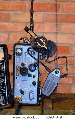 KIEV, UKRAINE -NOV 3: Vintage Soviet military radio during historical military reenactment, festival  and exhibition, November 3, 2013 Kiev, Ukraine