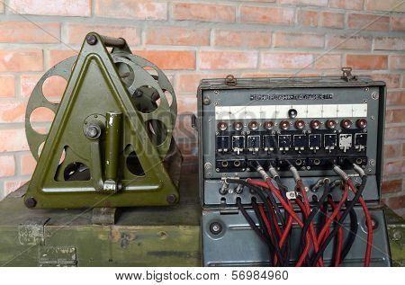 KIEV, UKRAINE -NOV 3: Vintage Soviet military field telephone commutator  during historical military reenactment, festival  and exhibition, November 3, 2013 Kiev, Ukraine