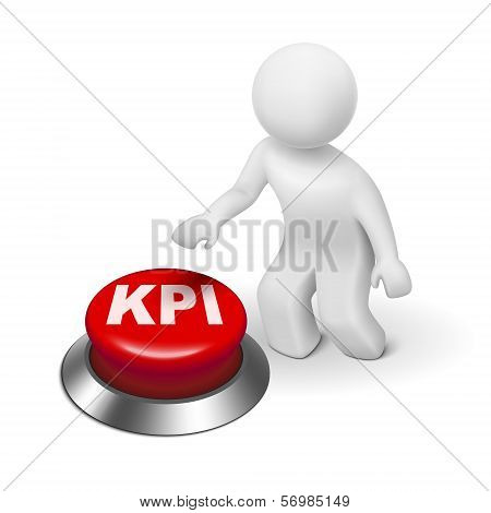 3D Man With Kpi ( Key Performance Indicator ) Button