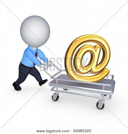 3d person with pushcart and AT symbol.