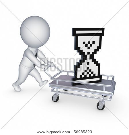 3d small person with pushcart.